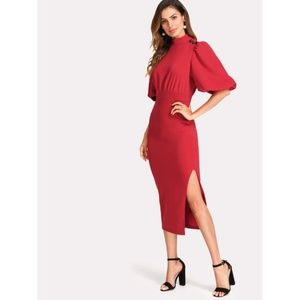 Exaggerated Lantern Sleeve Slit Side Dress